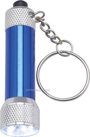 Blue Barrel Flashlight Keychain W/ 5 White Leds