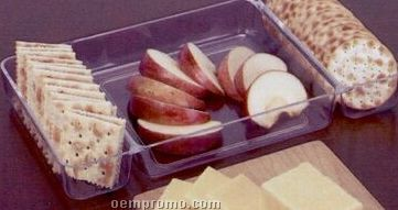 Three Compartment Cheese And Cracker Tray With Bamboo Cutting Board
