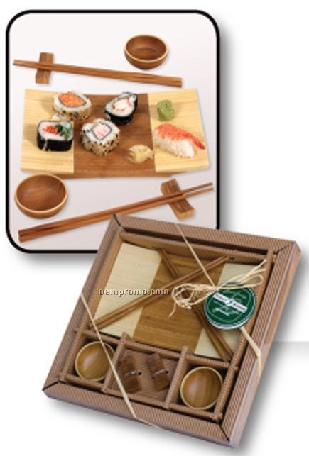 Bamboo Sushi Gift Set With Dinner Plate & Chopsticks