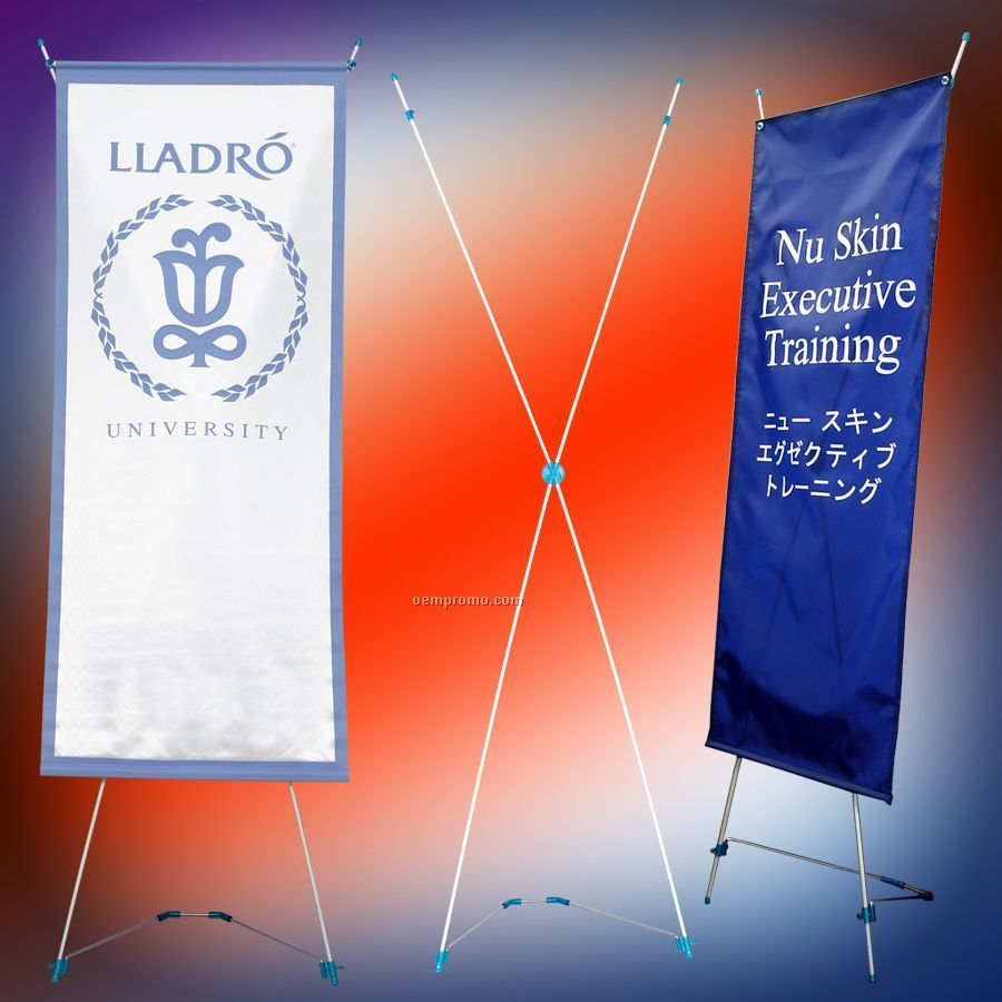 """Banner Stand/With 24"""" X 60"""" Banner"""