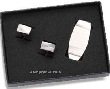 Oval Money Clip And Squared Cufflinks Set