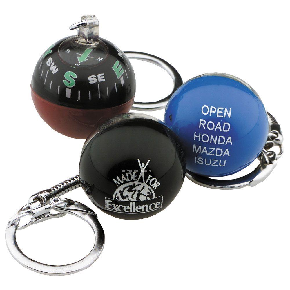 Round Compass Key Chain