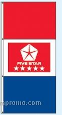 Single Face Dealer Free Flying Drape Flags - Five Star Red