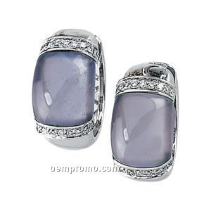 14kw Genuine Chalcedony Cabochon And Diamond Earrings