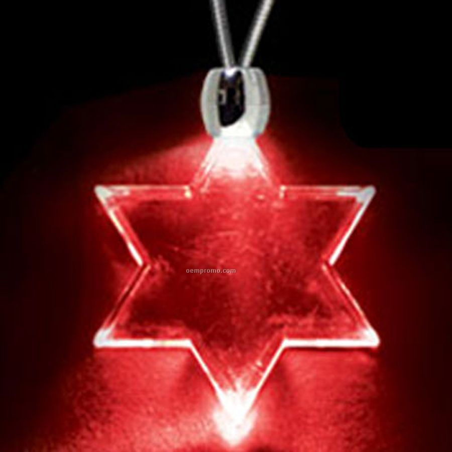 Red Acrylic Star Of David Pendant Light Up Necklace