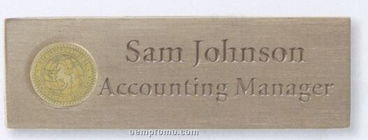 Satin Brass Name Badge With Magnetic Attachment Silver