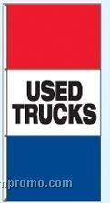 Single Face Stock Message Free Flying Drape Flags - Used Trucks