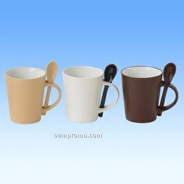 12 Oz Ceramic Latte Mug W/ Spoon
