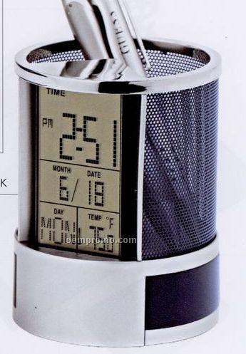 Calendar Alarm Clock Pen Holder Calendar/Musical Alarm/Thermo Clock