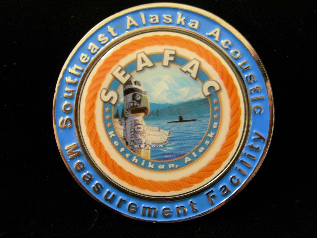 """Die Struck With Soft Enamel Color Double Sided Challenge Coin (1 3/4"""")"""