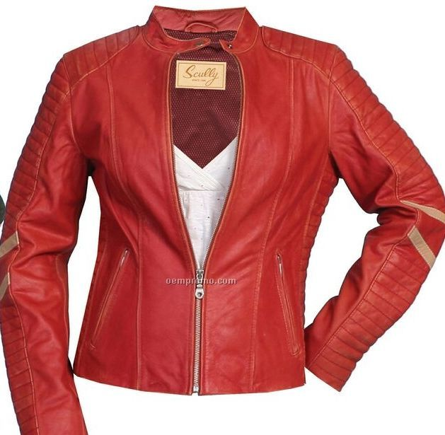 ladies red leather jacket - photo #33
