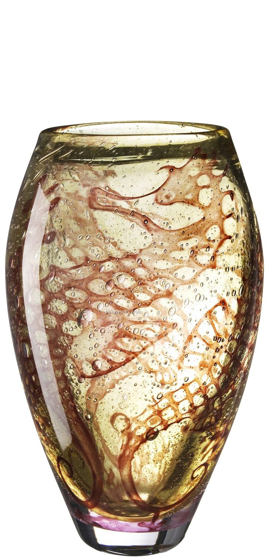 Underworld Brown Glass Vase W/ Seahorse Motif By Olle Brozen