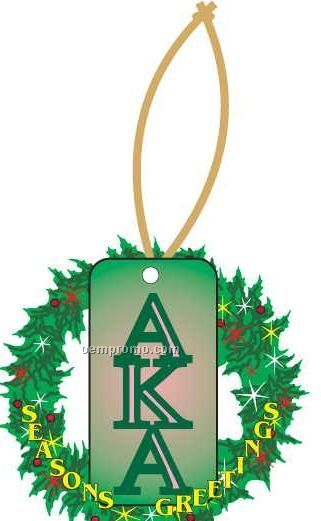 Alpha Kappa Alpha Sorority Letter Wreath Ornament/ Mirror Back (4 Sq. Inch)