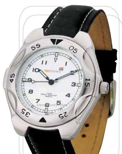 Men's Matte Silver Finish Watch W/ Genuine Leather Strap