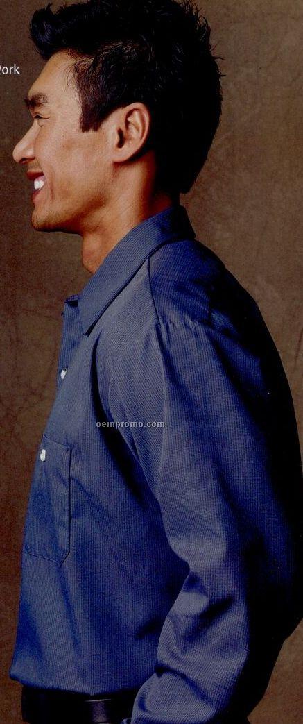 Blue / Charcoal Gray Long Sleeve Geometric Micro-check Shirt