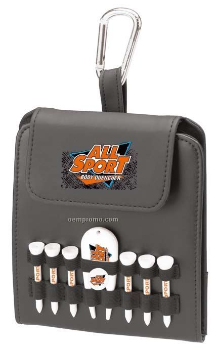 "Tee Off Folding Golf Caddy With 2 1/8"" Tees, Ball Marker, Pencil, And Divot"