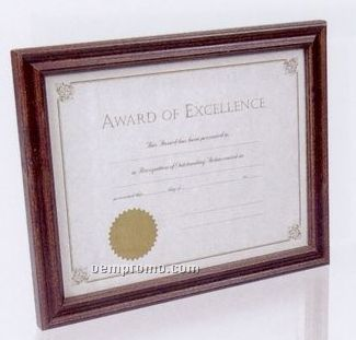 Hardwood Certificate Frame W/ Walnut Stained Finish