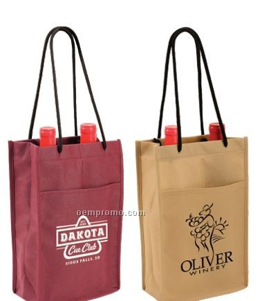 Non-woven Double Wine Bottle Bag W/ Front Pocket - 1 Color