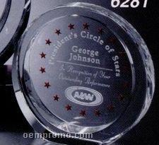 "Pristine Gallery Crystal Atwater Circle Award (6"")"