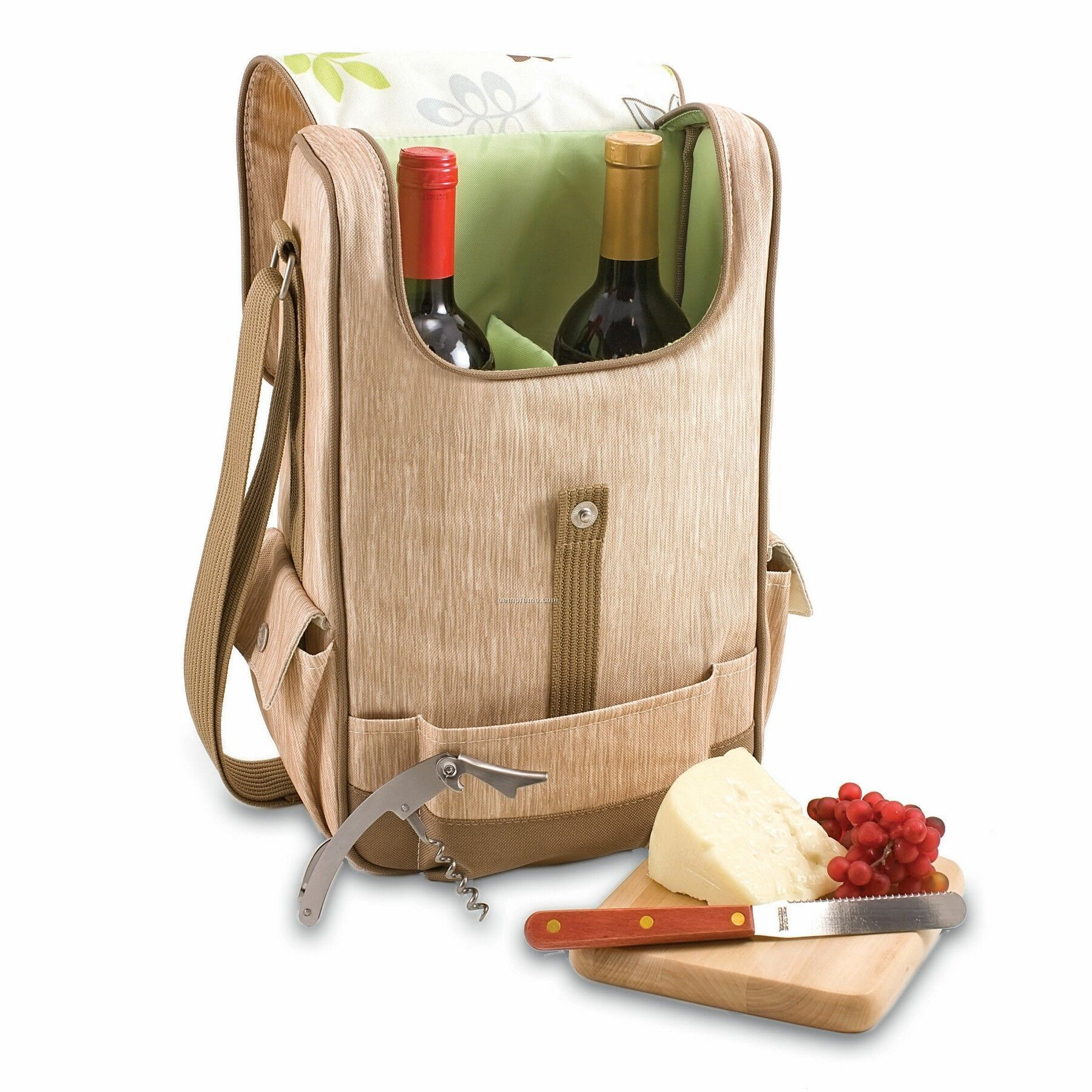 Volare Botanica Wine & Cheese Tote Bag W/ Floral Trim (2 Bottle)