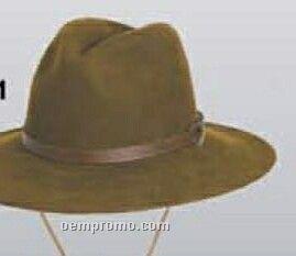 Wool Felt Crushable Western Hat W/ Chin Strap