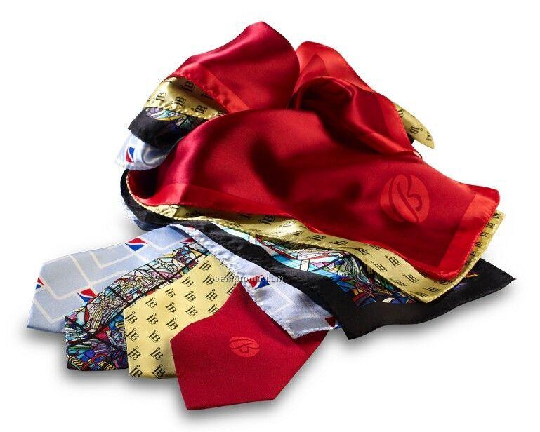 "Wolfmark Custom Wet-dye Silk Logo Scarf (8""X45"")"