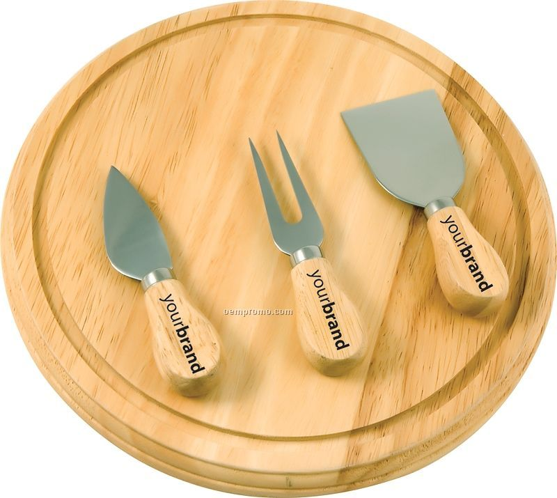 Rubber Wood Board & Serving Set (Pad Printed)