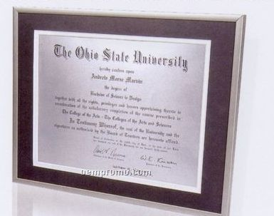 Satin German Silver Certificate Frame W/ Brushed Sides & Double Matboard