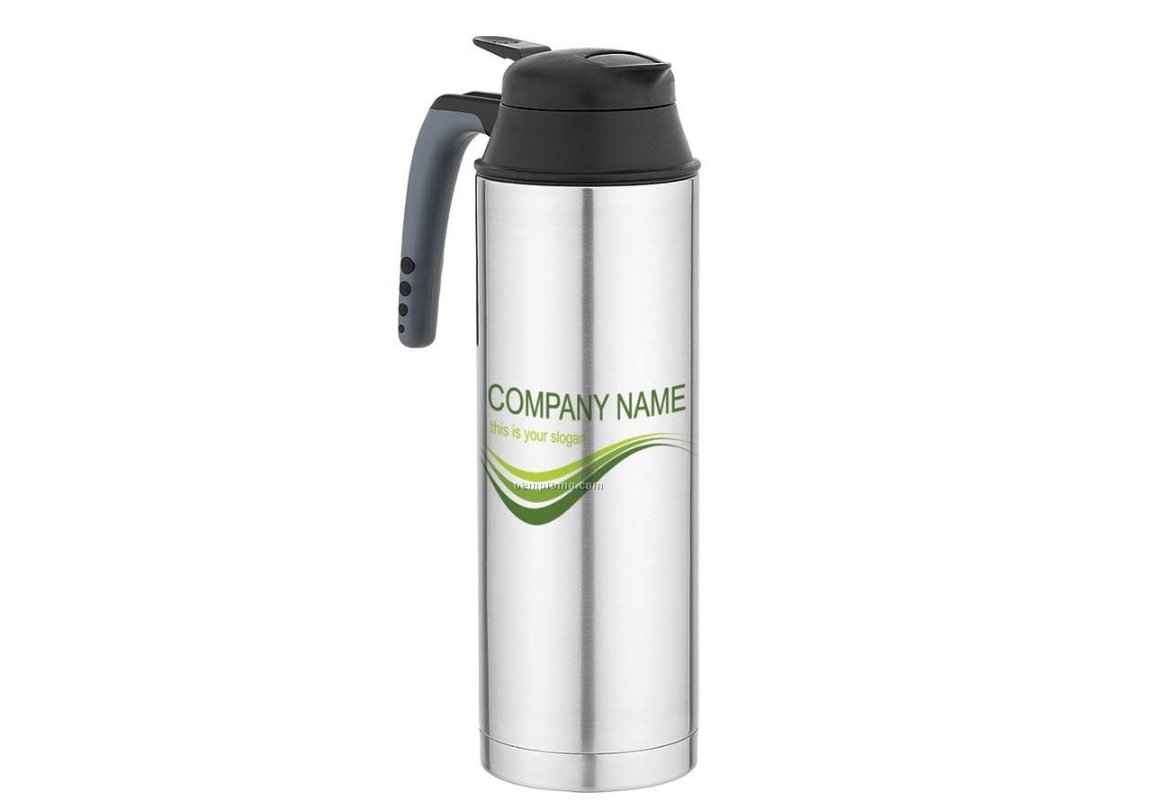 Thin Double Wall Thermal Bottle W/ Open Handle & Push Button Spout (50 Oz.)