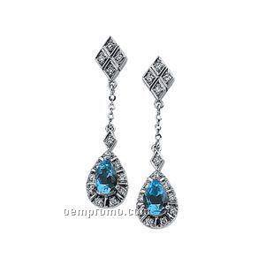14kw Genuine Aquamarine And 1/6 Ct Tw Diamond Earrings