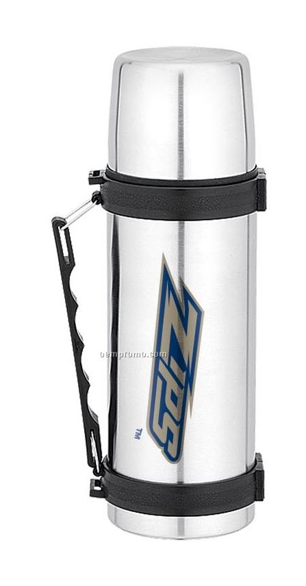 3-in-1 Stainless Steel Thermal Bottle W/ 2 Cups & Carry Handle (33 Oz.)