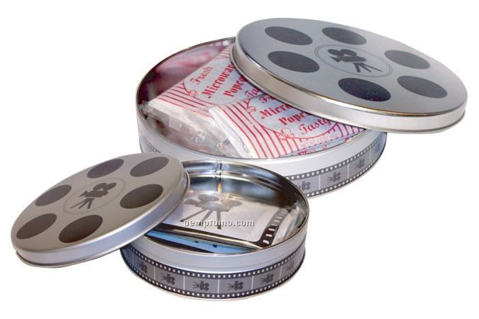 Large Stock Movie Reel Tin With 5 Custom Microwave Popcorn Bags