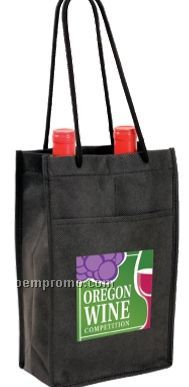 Non-woven Double Wine Bottle Bag W/ Front Pocket - Full Color Digital