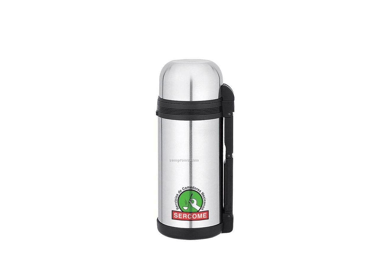3-in-1 Stainless Steel Thermal Bottle W/ 2 Cups & Carry Handle (50 Oz.)