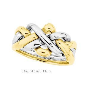Gents' 18ktt Duo Puzzle Wedding Band Ring