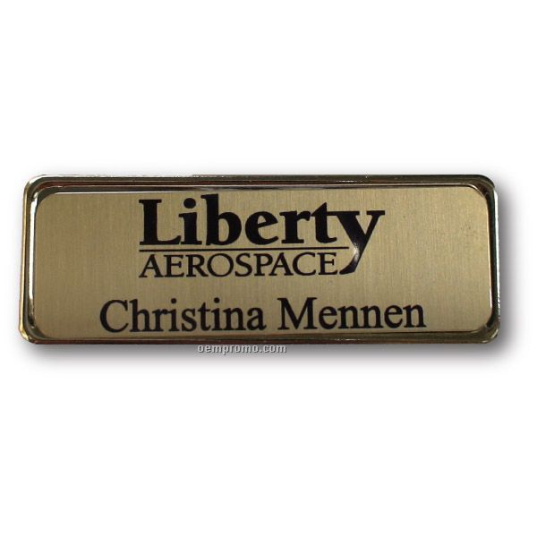 Gold Metal Name Badge With Pin Back (1