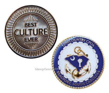 """Gold Plated Zinc Core Challenge Coins - Economy (1 3/4"""")"""