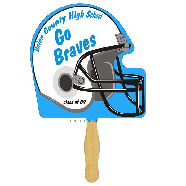 Helmet Glued Hand Fan (1 Side/ 4 Color Process Imprint)