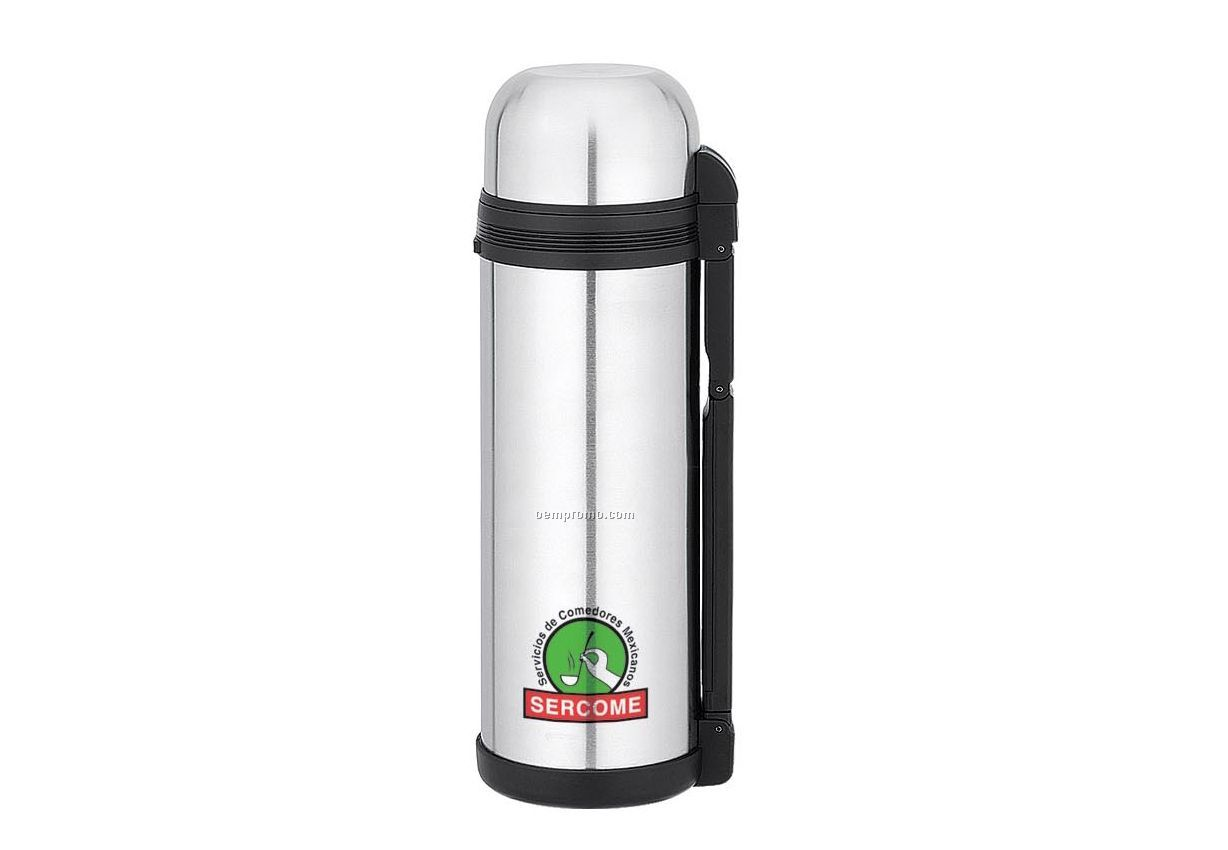 3-in-1 Stainless Steel Thermal Bottle W/ 2 Cups & Carry Handle (68 Oz.)