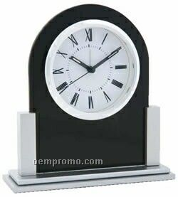 Elegant Black Arched Desk Clock With Silver Accents