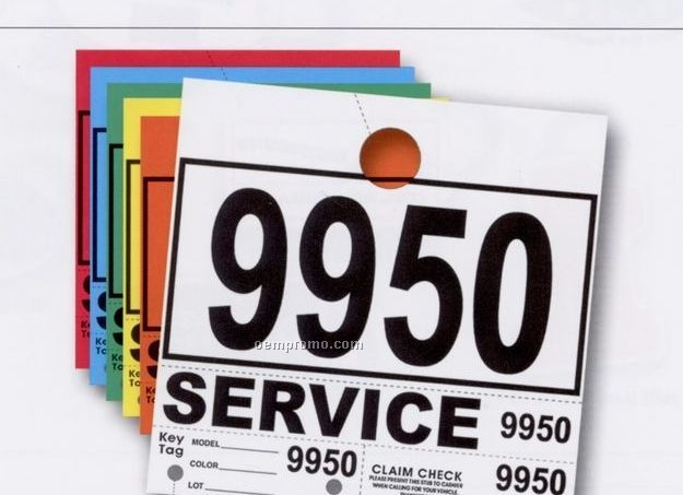 """Service Department Consecutively Numbered Hang Tag (6 3/4""""X7"""")"""