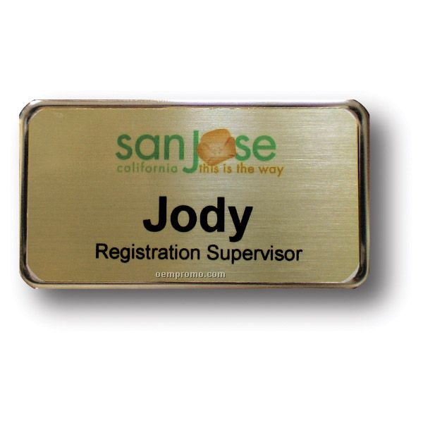Gold Metal Name Badge With Pin Back (1-5/8