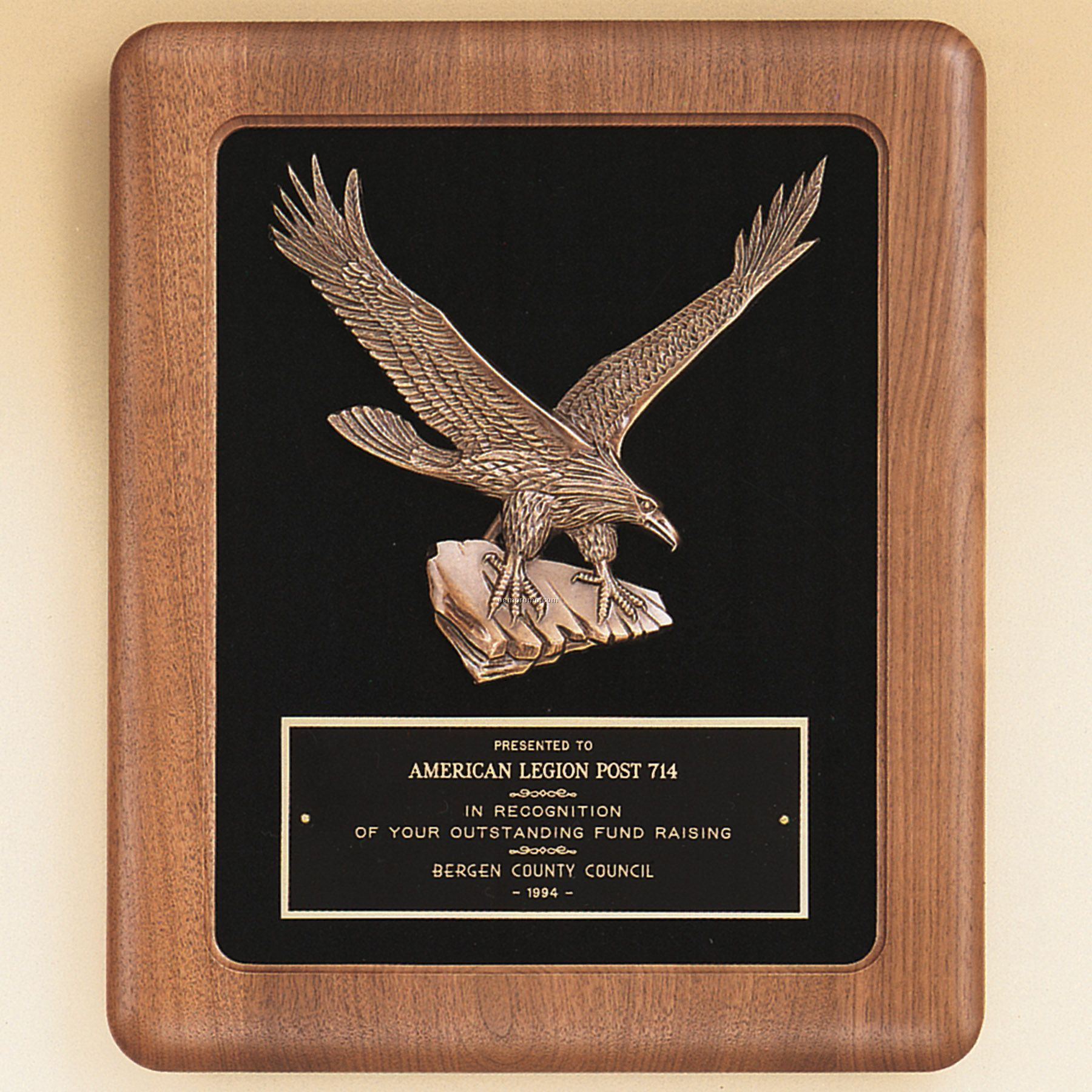 Large Eagle Casting On Solid American Walnut Plaque W/Black Velour