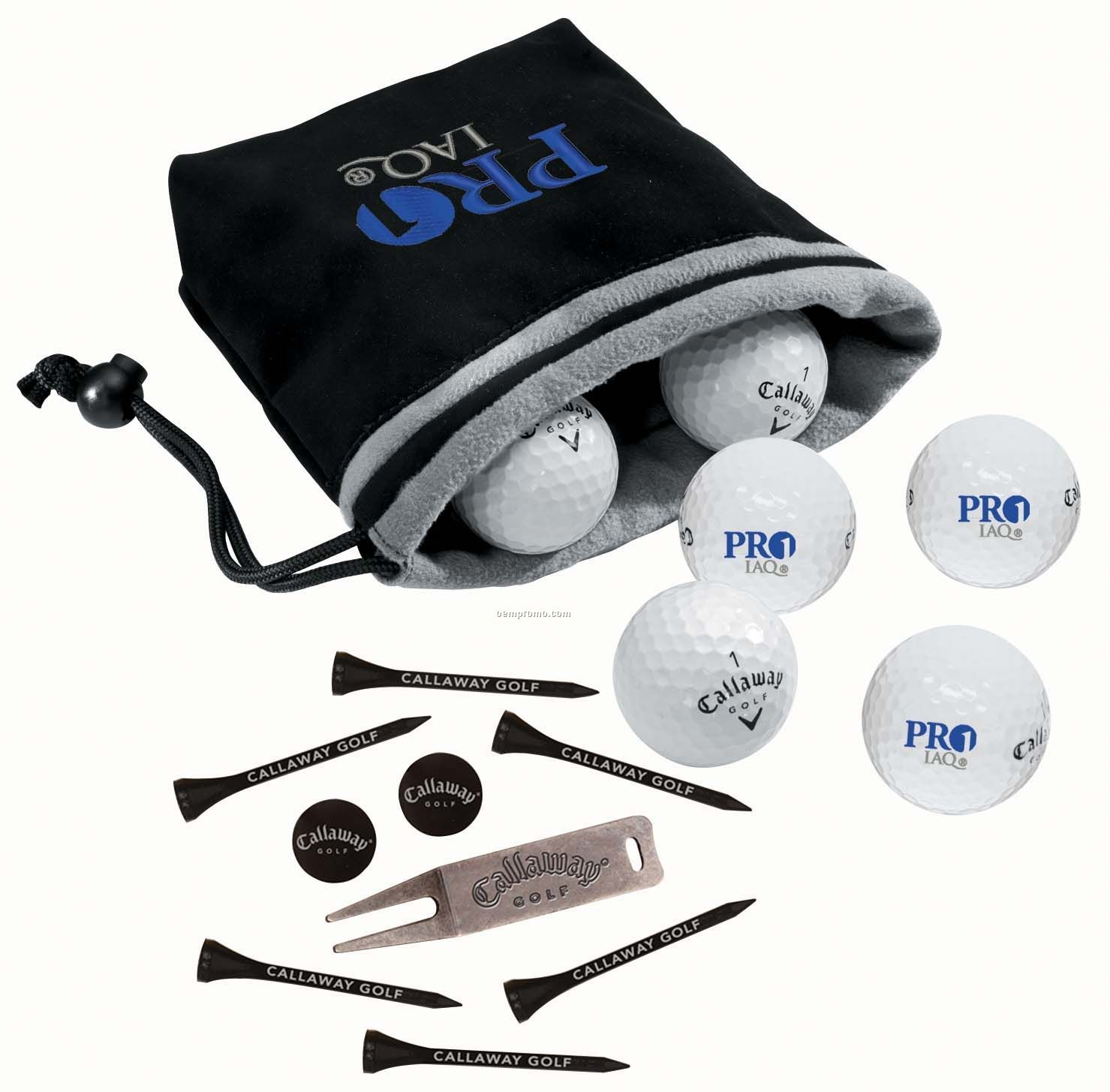 Callaway Tour I(Z) 6 Golf Ball Valuables Pouch W/ 6 Long Tees & Divot Tool