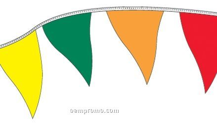 50' Regular Mass Pennants W/ 35 Per String - Orange