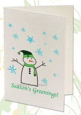 Plant A Shape Holiday Cards - Season's Greenings! (Snowman)