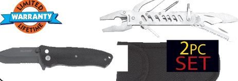 Maxam 3 PC Patented Assisted Opening Button Lock Knife And 14-function Tool