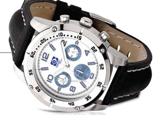 Unisex Sport Watch W/ Japanese Chronograph Movement & 3 Blue Sub Dials