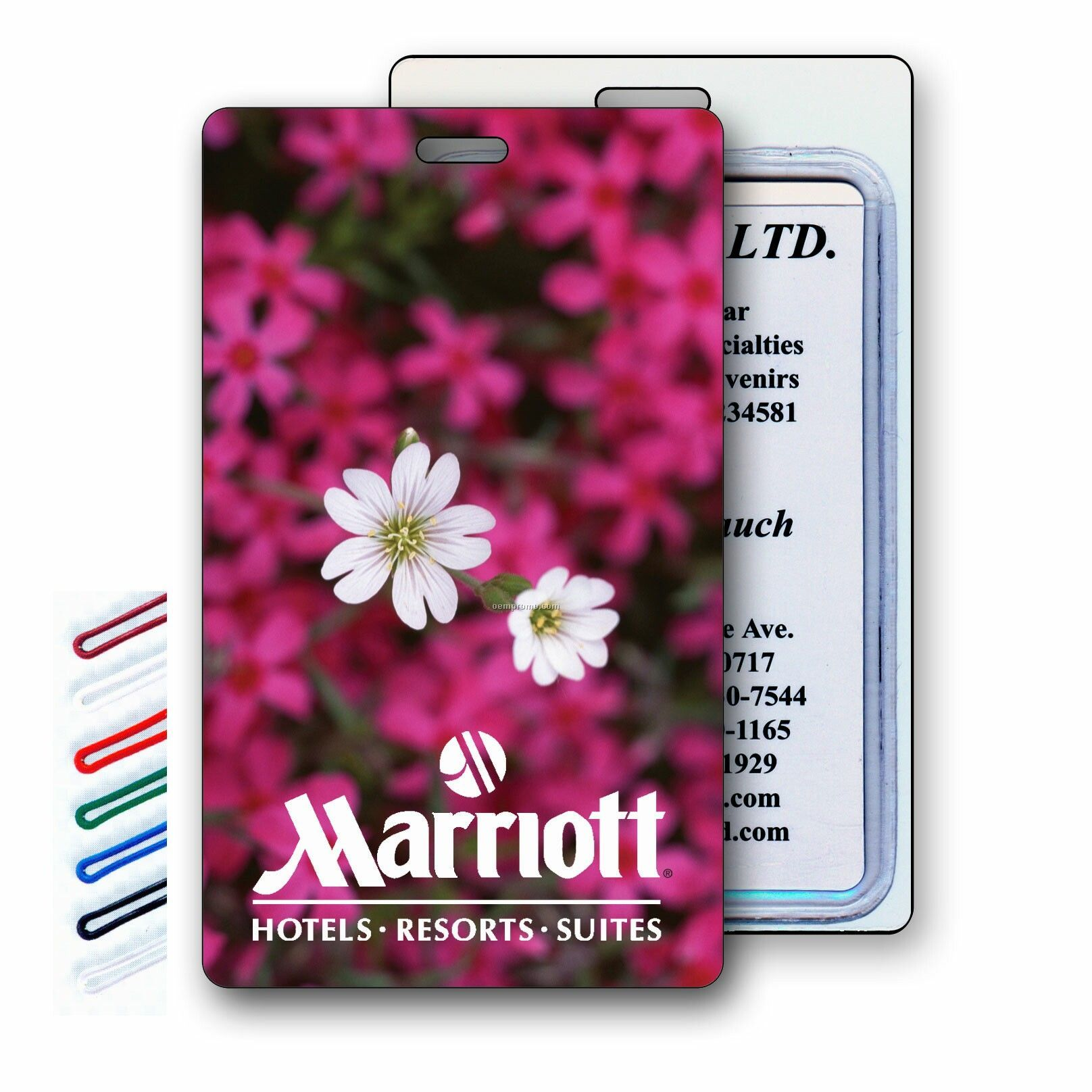Luggage Tag 3d Lenticular 3-d White And Pink Flowers Image (Blank Product)
