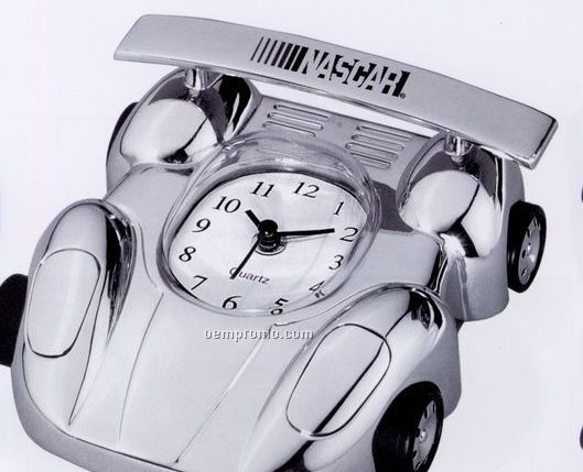 Silver Metal Race Car Alarm Clock